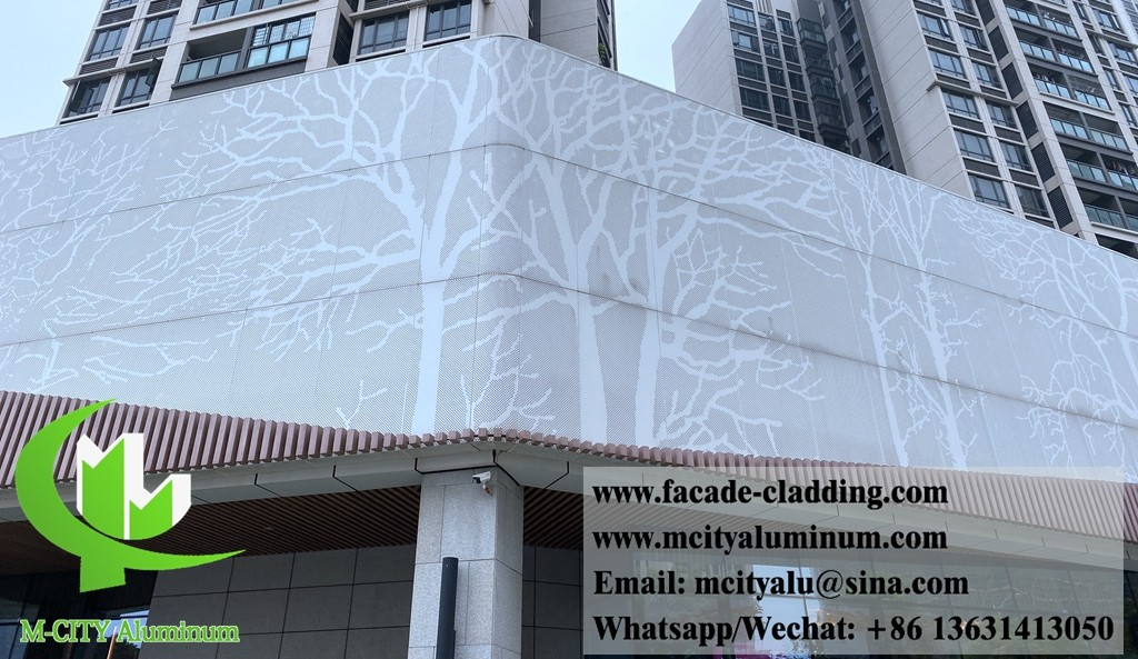 china latest news about M-City Metal Perforated panel aluminum facade project in Foshan city with Tree design