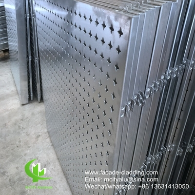 Perforated aluminum engraved panel used for exterior building facade for outdoor cover