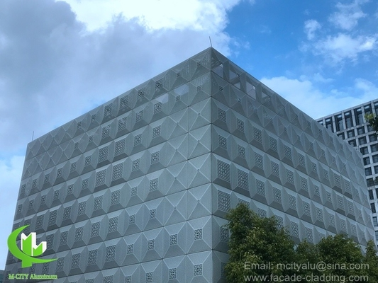China Architectural aluminum perforated cladding with art patterns perforation used for building facade supplier