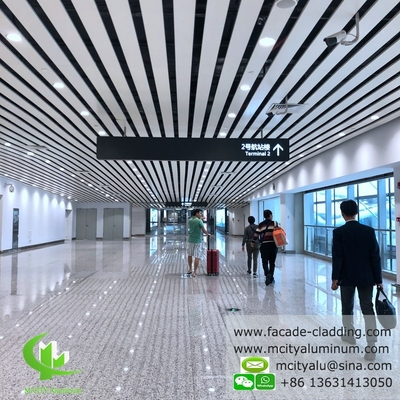 Aluminum ceiling tile strip ceiling for interior and exterior powder coated white fireproof
