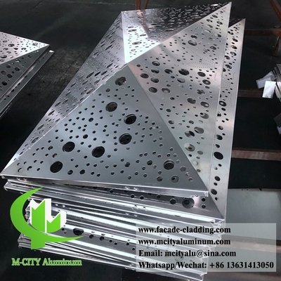 3D perforated aluminum panels for hotel facade customized metal sheet