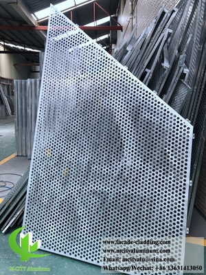 Perforated Metal aluminum panel with round holes patterns perforation used for building facade