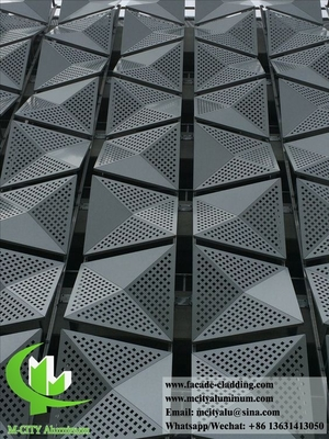 China 3D shape Perforated metal cladding aluminium facades round holes silver color for building wall supplier