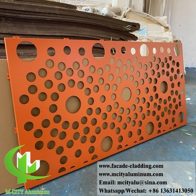 China External metal screen with perforation round holes patterns powder coated orange color supplier
