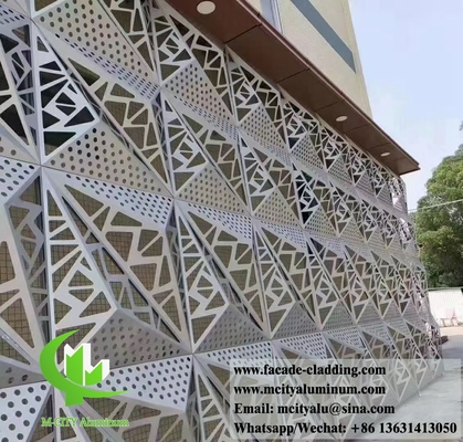 China 3D metal facade aluminium cladding hollow design sliver color 1m x 1m 3mm thickness supplier