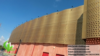 China Solid Aluminum perforated panel For Facade, Cladding Decoration PVDF golden color supplier