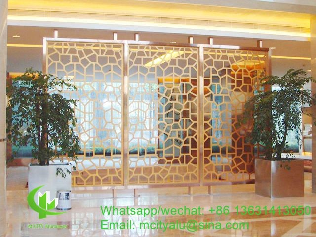 solid panel aluminum veneer sheet metal screen room divider sheet