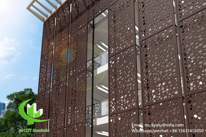 powder coated Perforated 3mm Metal aluminum screen patterned facade cladding