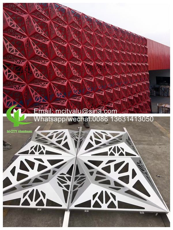 Brown color  Metal aluminum patterned facade cladding for facade exterior cladding