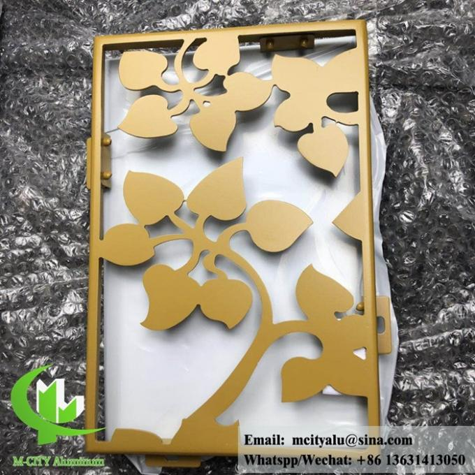 Solid aluminum facade panel for wall cladding powder coated RAL color gold color