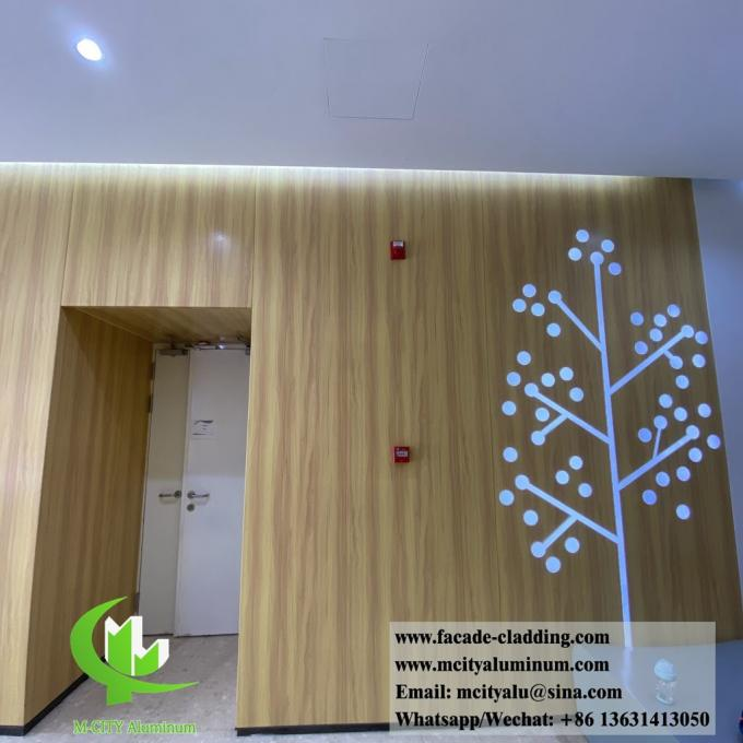 Wood grain color solid aluminum wall cladding for interior wall decoration wooden